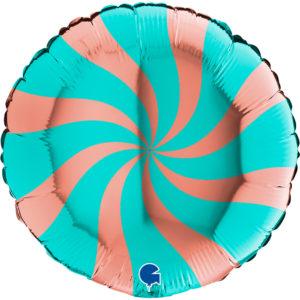 "Воздушный шар-круг, ""Леденец"" розовое золото-тиффани 46см"