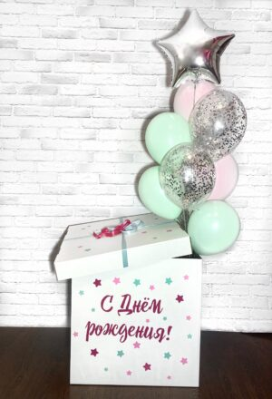 "Коробка с шарами ""Мятная роза"""