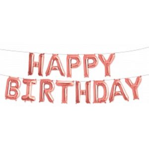 "Шар ""Happy Birthday"", Розовое Золото."