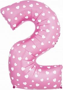 "Шар ""Цифра 2"", розовая с принтом сердечки, 100 см"