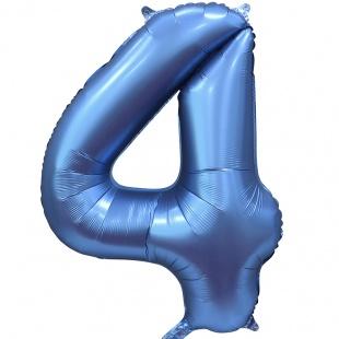 "Шар ""Цифра 4"", синий сатин, 100 см"